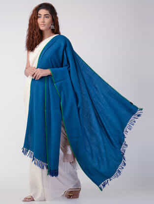 Blue Wool Shawl