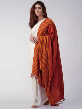 Red-Orange Wool Shawl