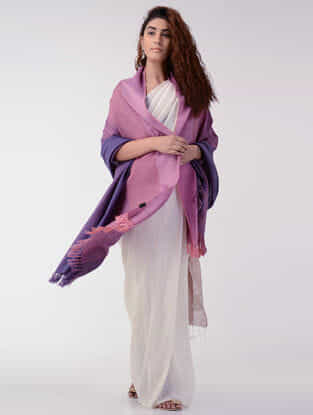 Purple-Pink Wool Shawl