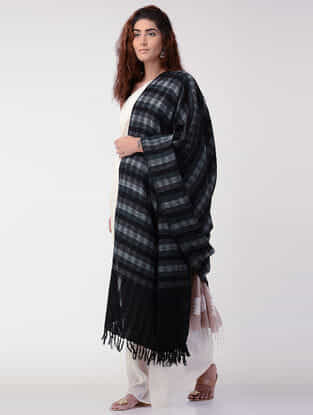 Black-Grey Checkered Wool Shawl