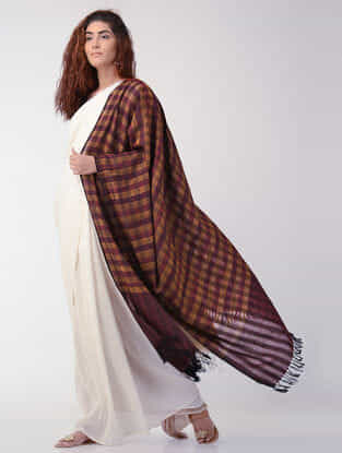 Maroon-Orange Checkered Wool Shawl