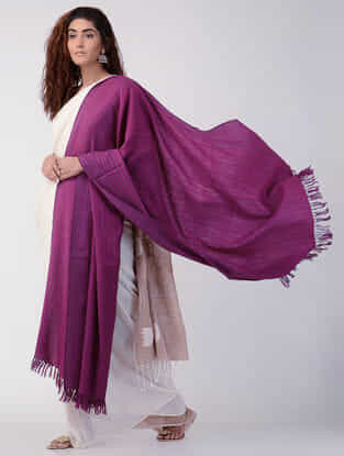 Pink-Grey Wool Shawl