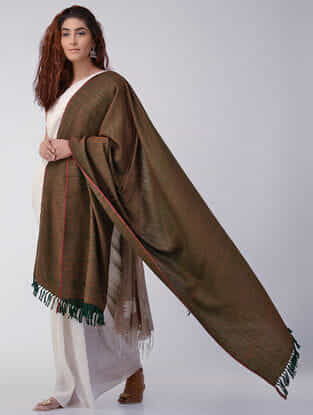 Brown-Green Wool Shawl