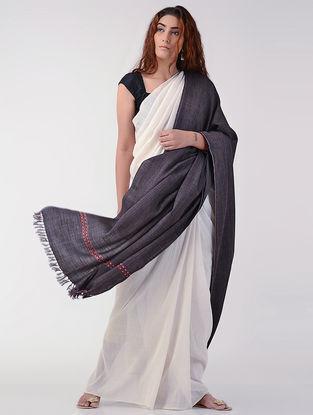 Grey-Maroon Wool Shawl