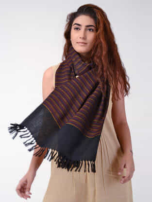 Maroon-Black Wool Stole