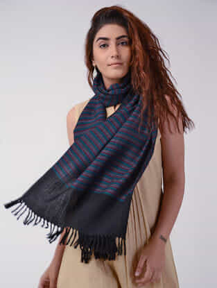 Black-Blue Wool Stole