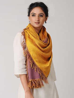 Mustard-Pink Reversible Wool-Silk Stole