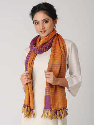 Orange-Pink Reversible Wool-Silk Stole