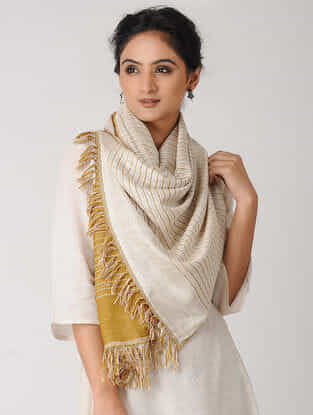Ivory-Yellow Reversible Wool-Silk Stole
