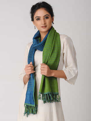 Green-Blue Reversible Wool-Silk Stole
