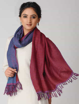 Blue-Maroon Reversible Wool-Silk Stole