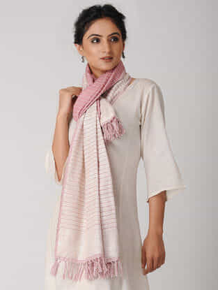 Ivory-Pink Striped Reversible Wool-Silk Stole