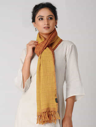 Yellow-Orange Reversible Checkered Wool Stole