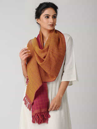 Pink-Orange Reversible Checkered Wool Stole