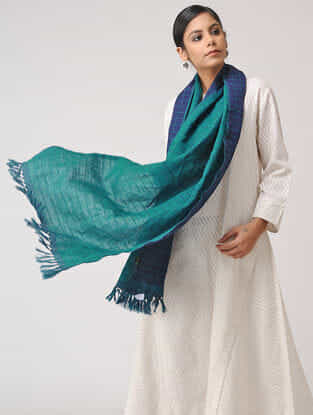 Blue-Green Reversible Checkered Wool Stole