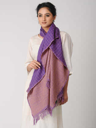 Purple-Peach Reversible Checkered Wool Stole