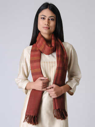 Red-Orange Merino Wool Stole