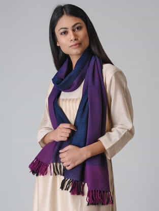 Blue-Purple Merino Wool Stole