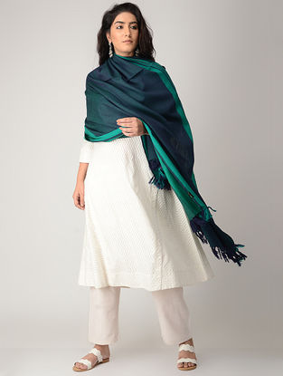 Blue-Green Merino Wool Shawl