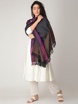 Black-Brown Merino Wool Shawl