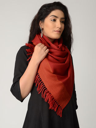 Pink-Orange Merino Wool Stole