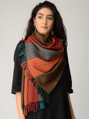 Blue-Orange Merino Wool Stole