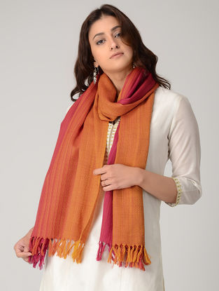 Orange-Pink Merino Wool Stole