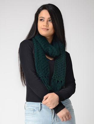 Green Hand-knitted Wool Muffler