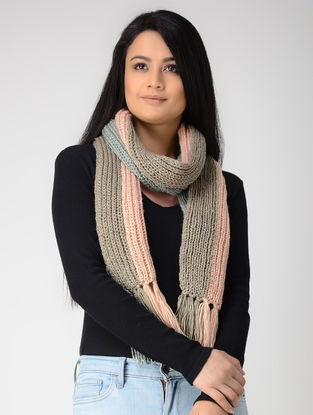 Grey-Peach Hand-knitted Wool Muffler