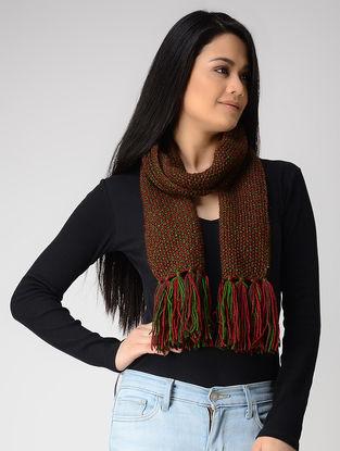 Green-Red Hand-knitted Wool Muffler