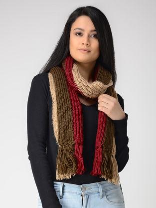Olive-Beige Hand-knitted Wool Muffler