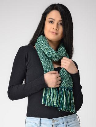 Green-Blue Hand-knitted Wool Muffler
