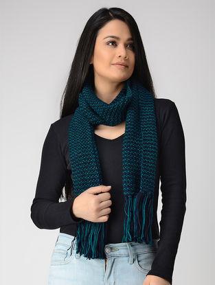 Blue Hand-knitted Wool Muffler