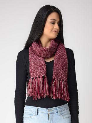 Pink-Beige Hand-knitted Wool Muffler