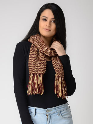 Maroon-Beige Hand-knitted Wool Muffler