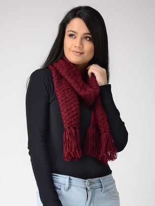 Magenta Hand-knitted Wool Muffler