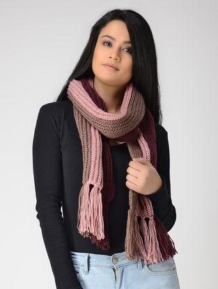 Pink-Maroon Hand-knitted Wool Muffler