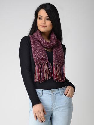 Blue-Pink Hand-knitted Wool Muffler
