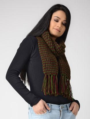 Green-Maroon Hand-knitted Wool Muffler
