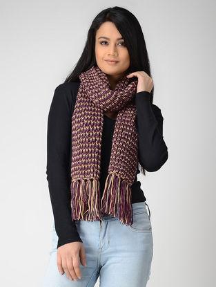 Purple-Beige Hand-knitted Wool Muffler