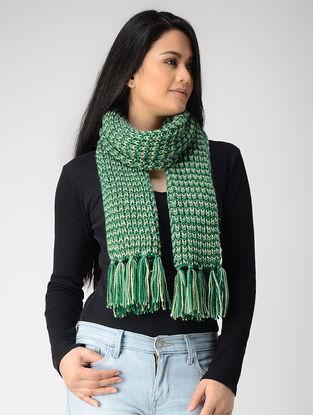 Green-Ivory Hand-knitted Wool Muffler