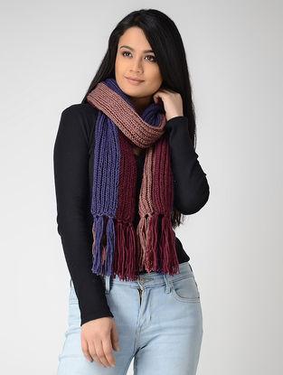 Beige-Blue Hand-knitted Wool Muffler