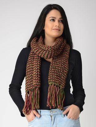 Green-Beige Hand-knitted Wool Muffler