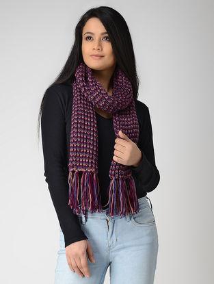 Purple-Magenta Hand-knitted Wool Muffler