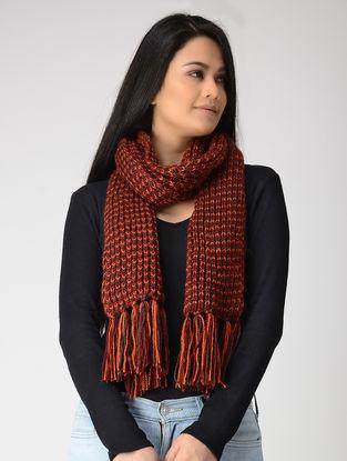 Orange-Maroon Hand-knitted Wool Muffler