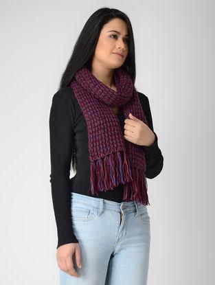 Blue-Maroon Hand-knitted Wool Muffler