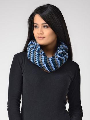 Blue-Grey Hand-knitted Wool Loop