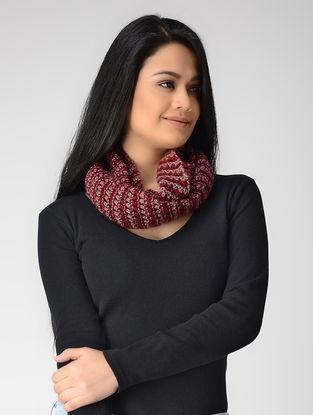 Pink-Beige Hand-knitted Wool Loop