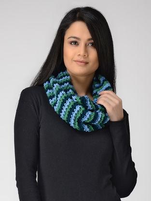 Blue-Green Hand-knitted Wool Loop