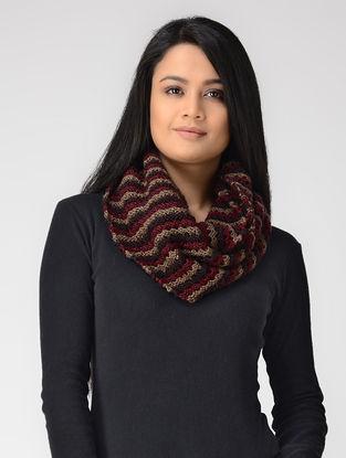 Maroon-Beige Hand-knitted Wool Loop